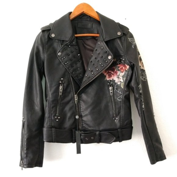 Blank NYC Jackets & Blazers - BLANK NYC faux leather floral studded Moto jacket